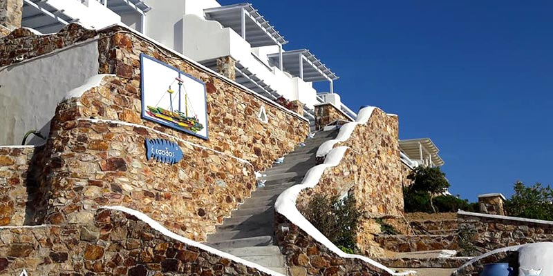 The entrance of Amfitriti studios at Serifos